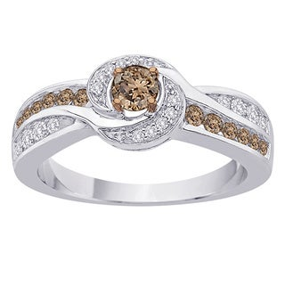 10k White Gold 2/3ct TDW Brown and White Diamond Engagement Ring