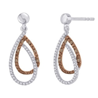 10k White Gold 1/5ct Brown and White Diamond Fashion Earrings (G-H, I2-I3)