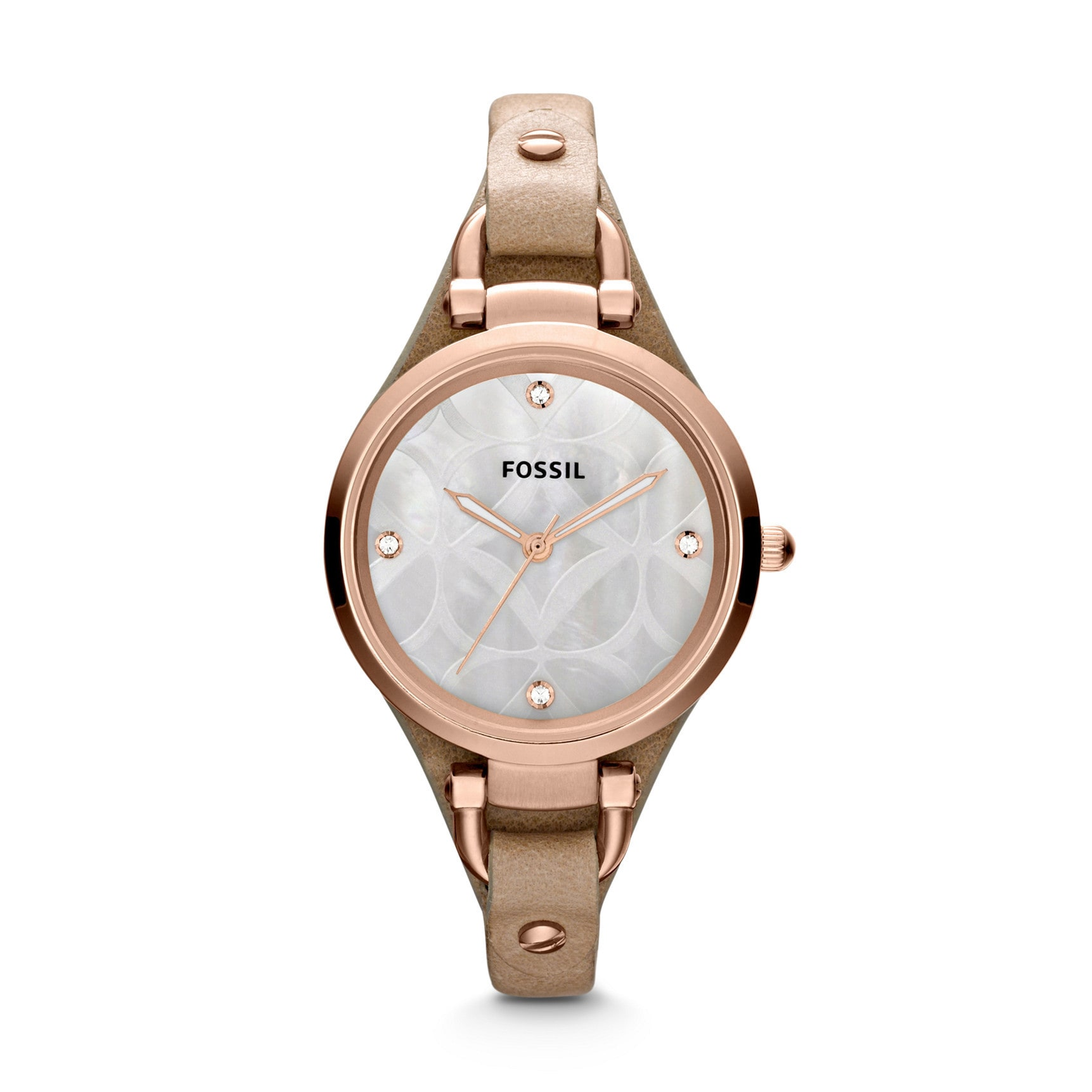 Fossil Women's Georgia ES3151 Beige Leather Quartz Watch ...