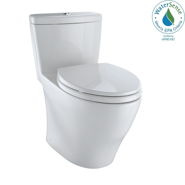 Toto Aquia 1-Piece Elongated Dual-Max, Dual Flush 0.9/1.6 GPF Universal Height Skirted Toilet, Colonial White (MS654114MF#01)