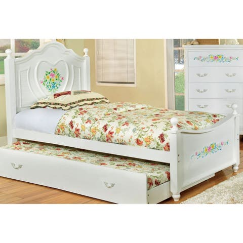 Furniture of America Yola Transitional White Solid Wood Platform Bed