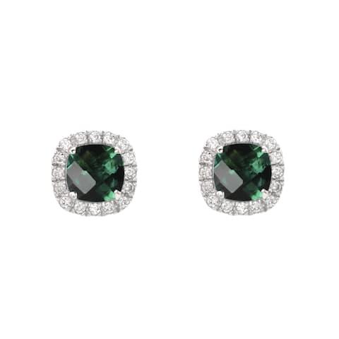 Sterling Silver Checkerboard Cushion Emerald Stud Earrings