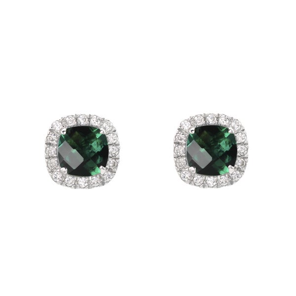 Sterling Silver Checkerboard Cushion Lab-created Emerald Stud Earrings