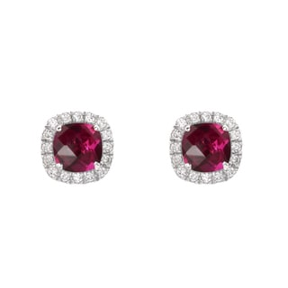 Sterling Silver Checkerboard Cushion Lab-created Ruby and White Sapphire Stud Earrings