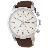 Fossil Men's Townsman FS4865 Brown Leather Quartz Watch - Brown/Off-White