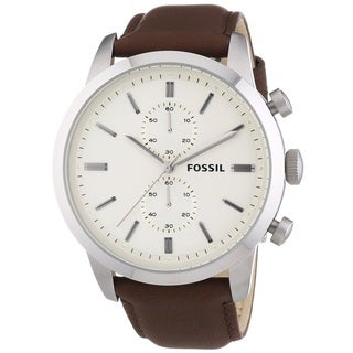 Fossil Men's Townsman FS4865 Brown Leather Quartz Watch - Brown/Off-White
