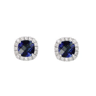 Sterling Silver Created Blue Sapphire and White Sapphire Stud Earrings