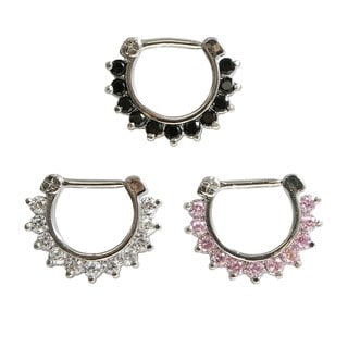 Supreme Jewelry 14G 3-color Combo Septum Clicker with Stones (Set of 3)