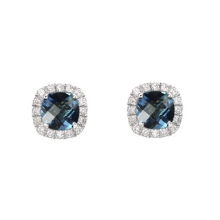Sterling Silver Checkerboard Cushion Blue Topaz and Lab-created White Sapphire Stud Earrings