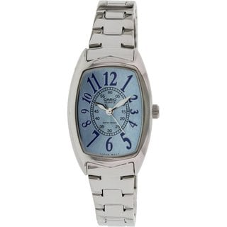 Casio Women's Core LTP1208D-2B Silvertone Stainless Steel Quartz Watch with Blue Dial