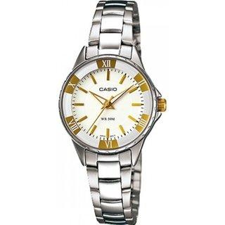 Casio Women's Core LTP1360D-7AV Silvertone Stainless Steel Analog Quartz Watch with White Dial