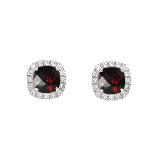 Sterling Silver Checkerboard Cushion Garnet and Lab-created White Sapphire Stud Earrings