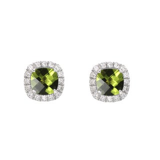 Sterling Silver Checkerboard Cushion Peridot and Lab-created White Sapphire Stud Earrings