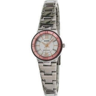 Casio Women's Core LTP1368D-7A Silvertone Stainless Steel Quartz Watch with Silvertone Dial