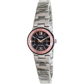 Casio Women's Core LTP1368D-1A2 Silvertone Stainless Steel Quartz Watch with Black Dial