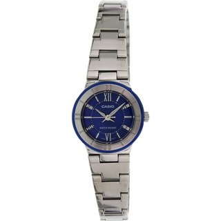 Casio Women's Core LTP1368D-2A Silvertone Stainless Steel Quartz Watch with Blue Dial