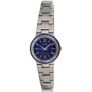 Casio Women's Core LTP1368D-2A Silvertone Stainless Steel Quartz Watch with Blue Dial