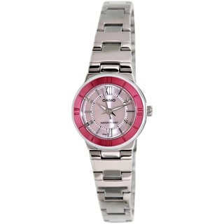 Casio Women's Core LTP1368D-4A Silvertone Stainless Steel Quartz Watch with Pink Dial