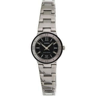Casio Women's Core LTP1368D-1A1 Silvertone Stainless Steel Quartz Watch with Black Dial