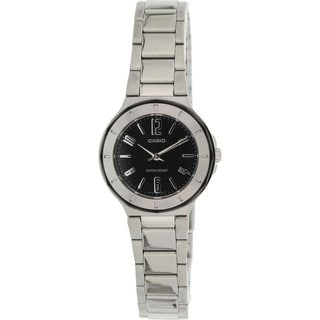 Casio Women's Core LTP1367D-1A1 Silvertone Stainless Steel Quartz Watch with Black Dial