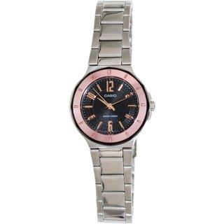 Casio Women's Core LTP1367D-1A2 Silvertone Stainless Steel Quartz Watch with Black Dial