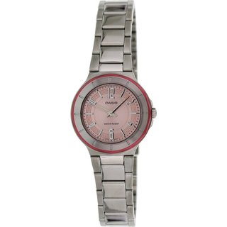 Casio Women's Core LTP1367D-4A Silvertone Stainless Steel Quartz Watch with Pink Dial