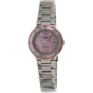 Casio Women's Core LTP1366D-4A Silvertone Stainless Steel Quartz Watch with Mother-Of-Pearl Dial