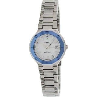 Casio Women's Core LTP1366D-7A Silvertone Stainless Steel Quartz Watch with Mother-Of-Pearl Dial
