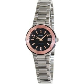 Casio Women's Core LTP1366D-1A Silvertone Stainless Steel Quartz Watch with Black Dial