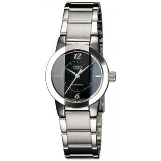 Casio Women's Core LTP1230D-1C Silvertone Stainless Steel Quartz Watch with Black Dial