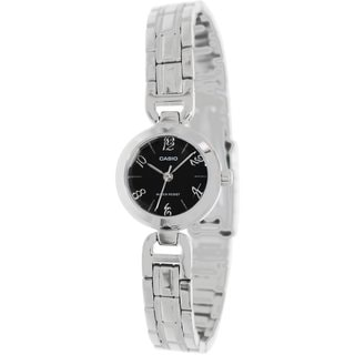 Casio Women's Core LTP1373D-1A Silvertone Stainless Steel Quartz Watch with Black Dial