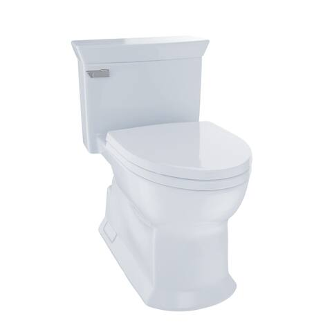 Toto Eco Soirée One Piece Elongated 1.28 GPF Universal Height Skirted Toilet with CeFiONtect, Cotton White (MS964214CEFG#01)