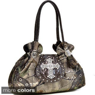 Dasein Realtree Camo Rhinestone Cross Satchel