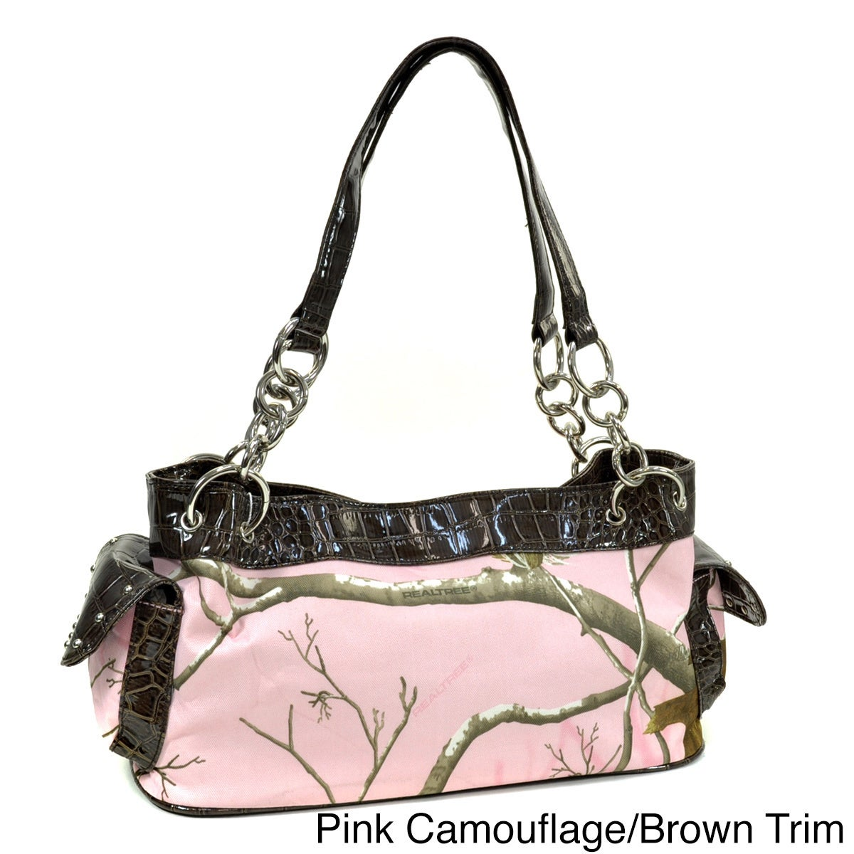 Realtree Camouflage Studded Shoulder Bag with Chain Handl...