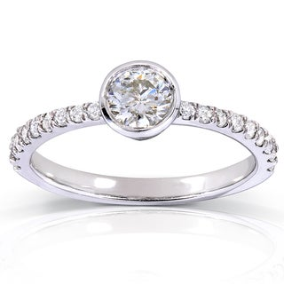 Annello by Kobelli 14k White Gold 3/5ct TDW Contemporary Round Bezel Diamond Engagement Ring