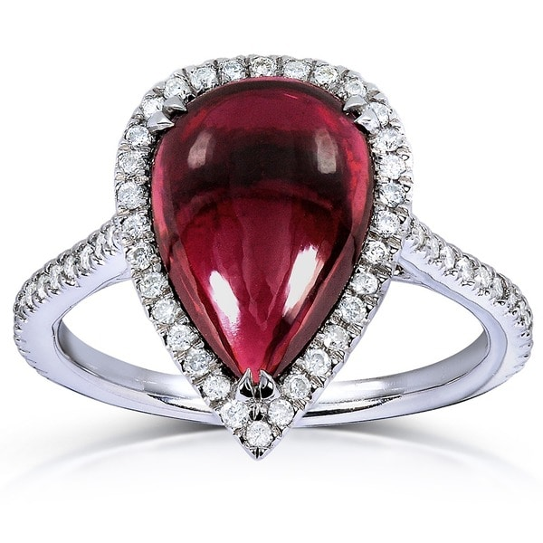 Annello by Kobelli 14k White Gold Pear-shape Capricorn Garnet and 1/3ct TDW Diamond Halo Ring