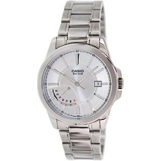 Casio Men's MTPE102D-7AV Silvertone Stainless Steel Quartz Watch with Silvertone Dial