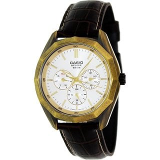 Casio Men's Core BEM310AL-7A Brown Leather Quartz Watch with White Dial