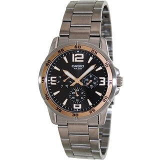 Casio Men's Classic MTP1299D-1AV Silvertone Stainless Steel Quartz Watch with Black Dial