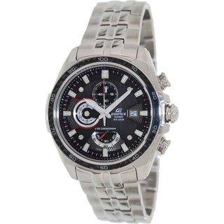 Casio Men's Edifice EF565D-1AV Silvertone Stainless Steel Quartz Watch with Black Dial
