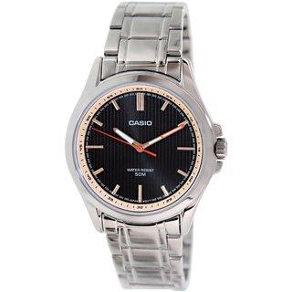 Casio Men's MTPE104D-1AV Silvertone Stainless Steel Quartz Watch with Black Dial