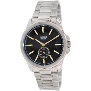 Casio Men's MTPE101D-1A1V Silvertone Stainless Steel Quartz Watch with Black Dial