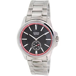 Casio Men's MTPE101D-1A2V Silvertone Stainless Steel Quartz Watch with Black Dial