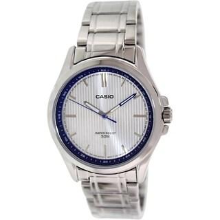 Casio Men's MTPE104D-7AV Silvertone Stainless Steel Quartz Watch with Silvertone Dial