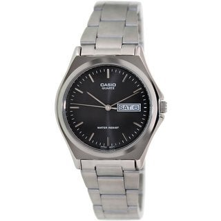 Casio Men's Core MTP1240D-1A Silvertone Stainless Steel Quartz Watch with Black Dial