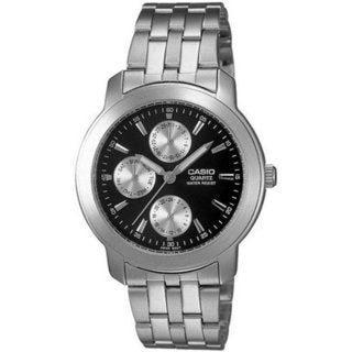 Casio Men's Core MTP1192A-1A Silvertone Stainless Steel Quartz Watch with Black Dial