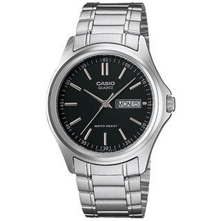 Casio Men's Core MTP1239D-1A Silvertone Stainless Steel Quartz Watch with Black Dial