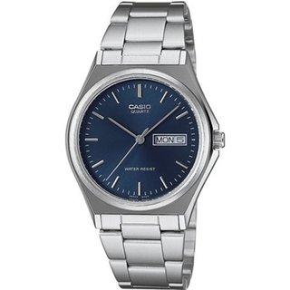 Casio Men's Core MTP1240D-2A Silvertone Stainless Steel Quartz Watch with Blue Dial