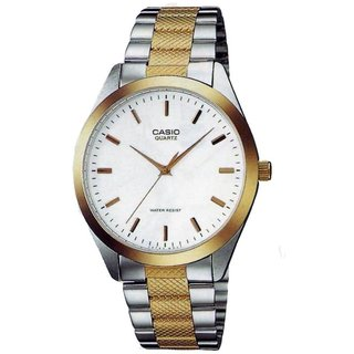 Casio Men's Core MTP1274SG-7A Silvertone Stainless Steel Quartz Watch with White Dial