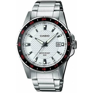 Casio Men's Core MTP1290D-7AV Silvertone Stainless Steel Quartz Watch with White Dial